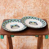 Ceramic dinner plates, 'Owl' (pair) - Two Ceramic Plates Handmade Signed 'Owl' NOVICA Guatemala