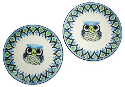 Ceramic dinner plates u0027Owlu0027 (pair) - Two Ceramic Plates Handmade Signed  sc 1 st  NOVICA : owl tableware - pezcame.com