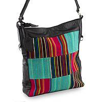Cotton and leather accent shoulder bag, 'Antigua Rainbow' - Multi Colored Lined Shoulder Bag from Guatemala