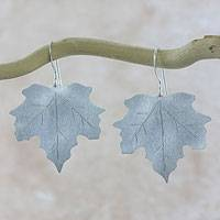 Sterling silver dangle earrings, 'Maple Dew' - Sterling Silver Hook Earrings with Brushed Satin Finish