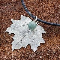 Jade pendant necklace, 'Maple Dew' - Sterling Silver and Jade on Leather Necklace