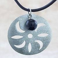 Sterling silver and jade pendant necklace, 'Chinchin' - Brushed Sterling Silver and Jade on Leather Necklace