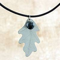 Sterling silver and jade pendant necklace, 'Oak Dew' - Artisan Crafted Jade and Sterling Silver Leather Necklace