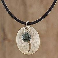 Sterling silver and jade pendant necklace, 'Coffee Bean' - Modern Necklace Sterling Silver and Jade on Leather