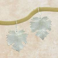 Sterling silver dangle earrings, 'Sycamore Dew' - Artisan Crafted Sterling Silver Hook Earrings