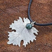 Sterling silver and jade pendant necklace, 'Sycamore Dew' - Artisan Crafted Jade and Sterling Silver Leather Necklace