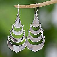 Sterling silver waterfall earrings, 'Cascading Moons' - Artisan Crafted Sterling Silver Waterfall Hook Earrings