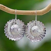 Sterling silver flower earrings, 'Sunflower Happiness' - Sterling Silver Earrings Crafted by Hand in Guatemala