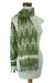 Cotton scarf, 'Mayan Meadows' - Backstrap Loom Handwoven Green and White Cotton Scarf (image 2d) thumbail