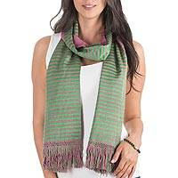 Reversible cotton scarf, 'Bougainvillea' - Backstrap Loom Green and Fuchsia Reversible Cotton Scarf