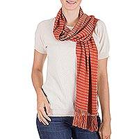 Reversible cotton scarf, 'Bird of Paradise' - Backstrap Loom Orange and Brown Reversible Cotton Scarf