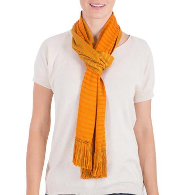 Reversible cotton scarf, 'Summer Sun' - Backstrap Loom Orange and Yellow Reversible Cotton Scarf