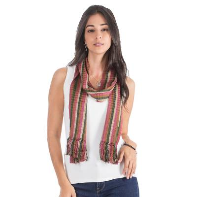Cotton scarf, 'Day in the Country' - Backstrap Loom Handwoven Brown Green Pink Cotton Scarf