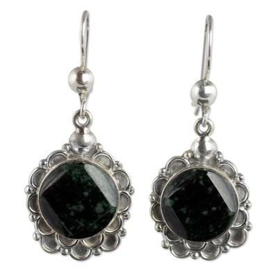 Silver and Dark Green Jade Floral Earrings