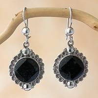 Jade dangle earrings, 'Dark Halo' - Handcrafted Sterling Silver Jade Dangle Earrings