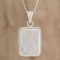 Reversible lilac jade pendant necklace, 'Tikal' - Reversible Lilac Jade and Silver Maya Pyramid Necklace