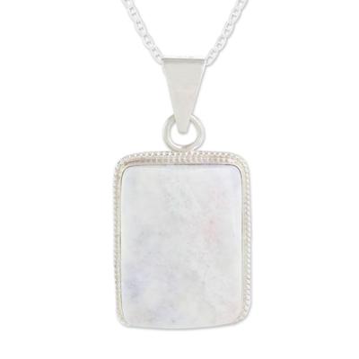 Reversible lilac jade pendant necklace, 'Tikal' - Reversible Lilac Jade and Silver Maya Pyramid Necklace