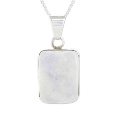 Jade pendant necklace, 'Lilac Maize God' - Reversible Lilac Jade and Silver Necklace