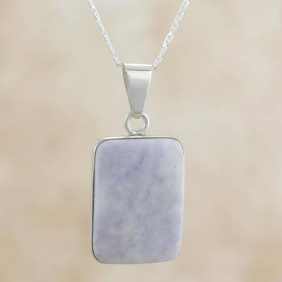 Reversible lilac jade pendant necklace, 'Breath of Life' - Reversible Lilac Jade and Silver Maya Glyph Necklace