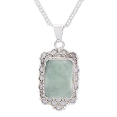 Jade pendant necklace, 'Mint Petals' - Green Jade Silver Necklace from Guatemala