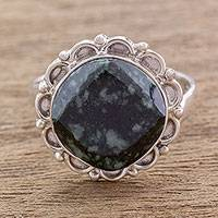 Jade cocktail ring, 'Dark Forest Moon' - Unique Sterling Silver and Jade Cocktail Ring from Guatemala
