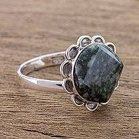Jade cocktail ring, 'Dark Sunflower' - Handcrafted Dark Green Jade and Silver Floral Ring