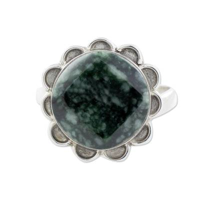 Handcrafted Dark Green Jade and Silver Floral Ring