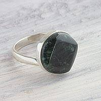 Jade cocktail ring, 'Night Forest' - Modern Sterling Silver and Jade Cocktail Ring from Guatemala