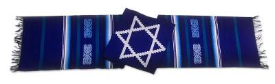 Cotton table runner, 'Star of David on Blue' - Hand Loomed Cotton Table Runner