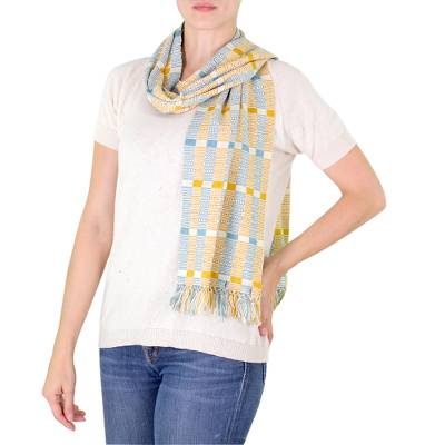 Cotton scarf, 'Atitlan Muse' - Natural Dyes Cotton Scarf Woven by Hand Guatemala
