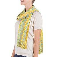 Cotton scarf, 'Atitlan Diva' - Natural Dyes Cotton Scarf Woven by Hand Guatemala