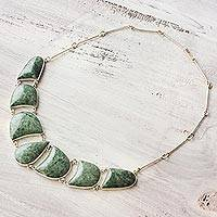 Jade pendant necklace, 'Light Green Uniqueness' - Artisan Crafted Jade jewellery in a Sterling Silver Necklace