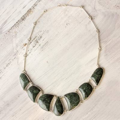 Jade pendant necklace, 'Uniqueness' - Jade and Sterling Silver Necklace Handmade Jewelry