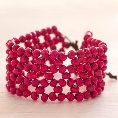 Wood beaded wristband bracelet, 'Soul Star' - Fair Trade Magenta Wood Beaded Wristband Bracelet