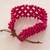 Wood beaded wristband bracelet, 'Soul Star' - Fair Trade Magenta Wood Beaded Wristband Bracelet (image 2c) thumbail