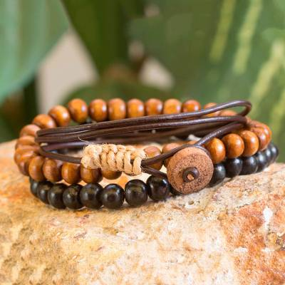 Men's wrap and beaded bracelets, 'Power and Strength' (set of 3) - Men's Bracelets Two Beaded and One Wrap (set of 3)