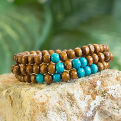 Men S Wood Beaded Bracelets Brown Spirituality Set Of 3