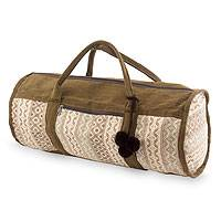 Cotton travel bag, 'Earth Whisper' - Handwoven Beige and Brown Cotton Travel Bag