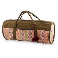 Cotton travel bag, 'Rose Whisper' - Handwoven Pink and Brown Cotton Travel Bag