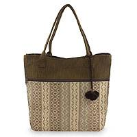 Cotton tote handbag, 'Quiet Maya Earth' - Handwoven Beige and Brown Tote Handbag from Guatemala