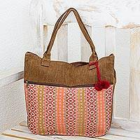 Cotton tote handbag, 'Quiet Maya Rose'