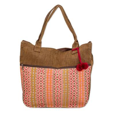 Cotton tote handbag, 'Quiet Maya Rose' - Handwoven Pink and Brown Tote Handbag from Guatemala