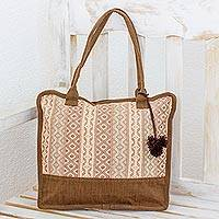 Cotton shoulder bag, 'Quiet Maya Earth' - Handwoven Beige and Brown Shoulder Bag from Guatemala
