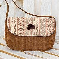 Cotton shoulder bag, 'Geometry in Brown' - Handwoven Maya Shoulder Bag from Guatemala