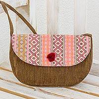Cotton shoulder bag, 'Geometry in Rose' - Maya Handwoven Brown and Pink Flap Shoulder Bag