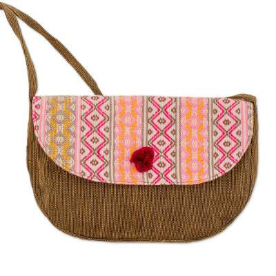 Novica Cotton shoulder bag, Geometry in Rose
