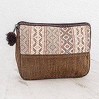Cotton cosmetic case, 'Earth Whisper' - Handwoven Beige and Brown Cosmetic Case