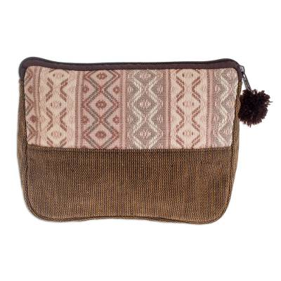 Handwoven Beige and Brown Cosmetic Case