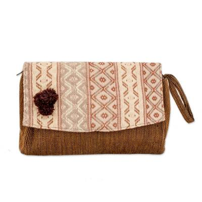 Handwoven Beige and Brown Wristlet Handbag from Guatemala