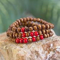 Men's wood beaded bracelets, 'Red on Brown Spirituality' (set of 3)